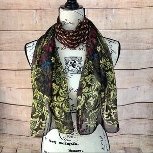 ⚡️2 for $15 Black Burgundy & Yellow Floral Scarf
